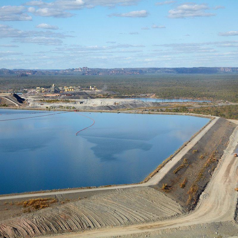 C6K2H5 Tailings dam, Ranger Uranium Mine, Kakadu National Park, Northern Territory, Australia - aerial